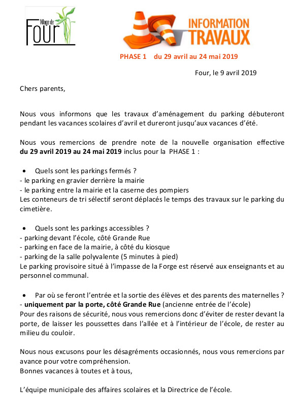Description des travaux d'aménagement du parking